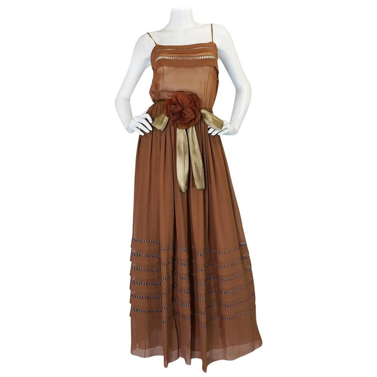 c.1978 Christian Dior Haute Couture Silk Dress with Lame Belt