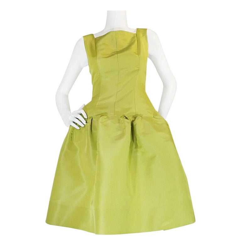 "Iconic S/S 2004 Oscar De La Renta Lime Green 'Carrie"" Dress"