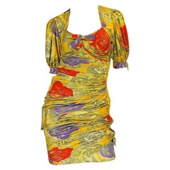 1980s Emanuel Ungaro Silk Jersey Fitted Print Mini Dress