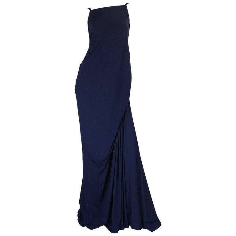 "S/S 2008 Yves Saint Laurent Minimalist Navy ""Bustle"" Dress"