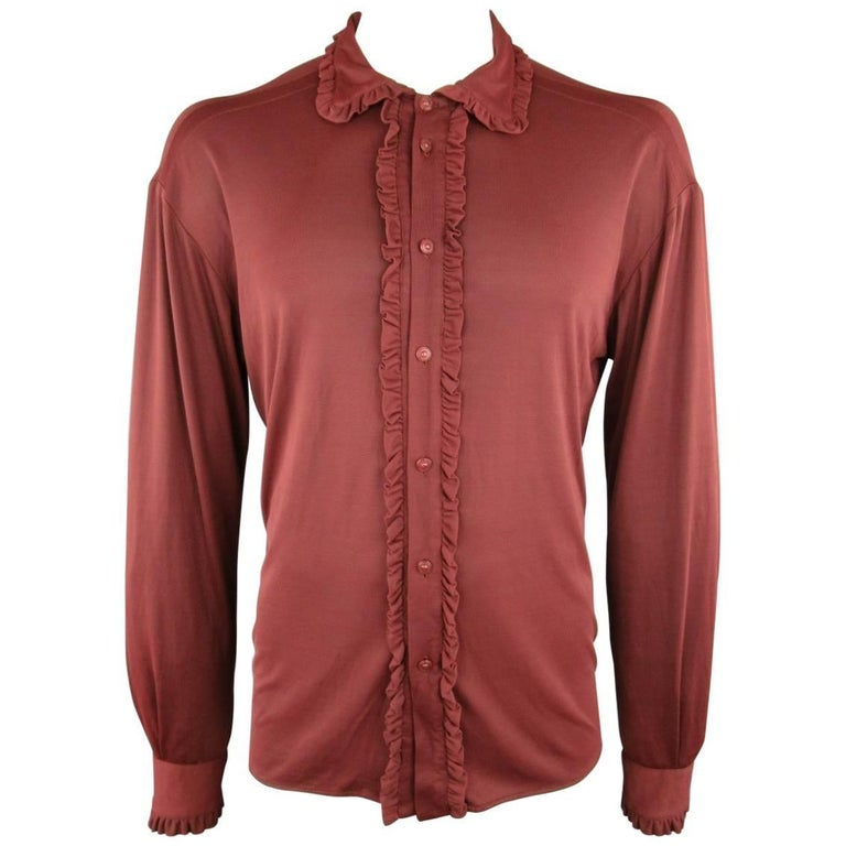 VERSUS by GIANNI VERSACE Size L Maroon Polimide Ruffle Trim Long Sleeve Shirt