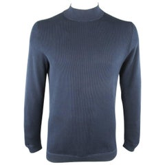 Men's BRUNELLO CUCINELLI Size L Navy & Gray Ribbed Knit Mock Neck Pullover
