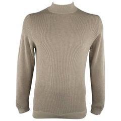 Men's BRUNELLO CUCINELLI M Oatmeal Tan & Gray Ribbed Knit Mock Neck Pullover