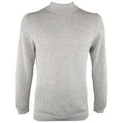 Men's BRUNELLO CUCINELLI L Light Grey Ribbed Knit Tan Trim Mock Neck Pullover
