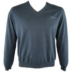 Men's DRIES VAN NOTEN Size XL Navy Blue Cotton Knit V Neck Pullover
