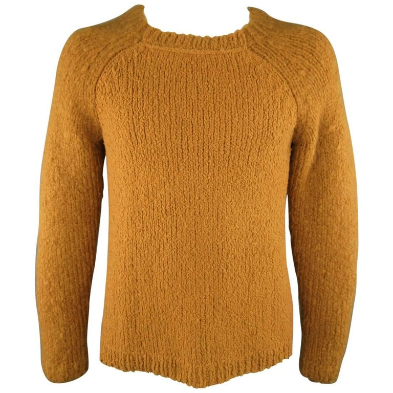 3.1 PHILLIP LIM Size M Gold Chunky Wool Blend Contrast Knit ...