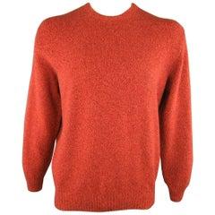 Men's LORO PIANA Size L Brick Red Heather Cashmere Crewneck Pullover Sweater