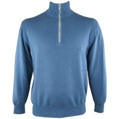 Men's LORO PIANA Size L Blue Cashmere Half Zip Mock Neck Pullover