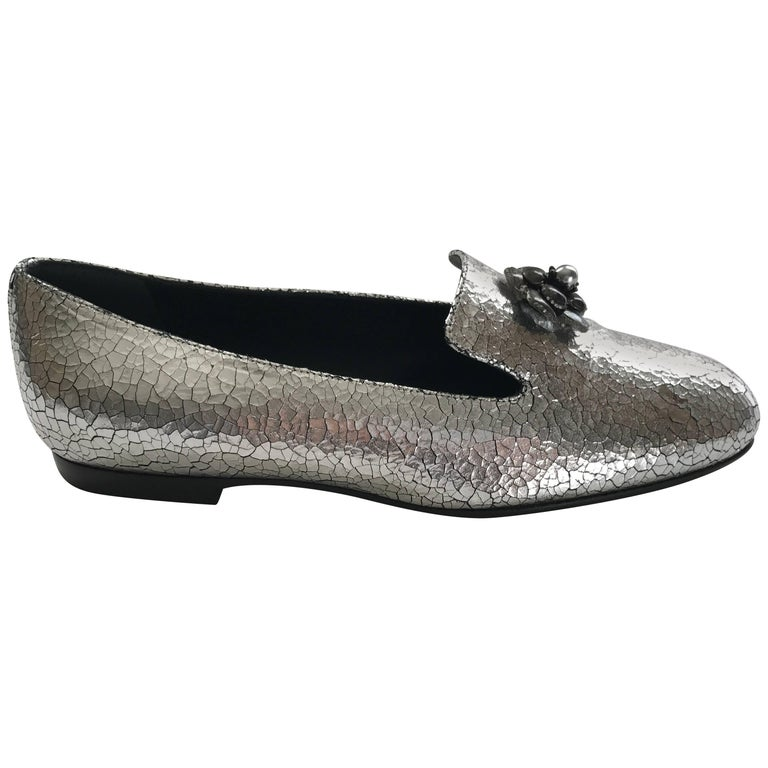 Chanel Silver Loafers Sz 37 1/2 For Sale