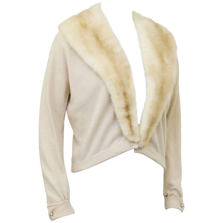 1950's Pringle of Scotland Cream Cashmere Cardigan with Mink ...