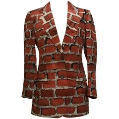 Moschino Couture Vintage Brick Print Jacket Blazer, 1990s