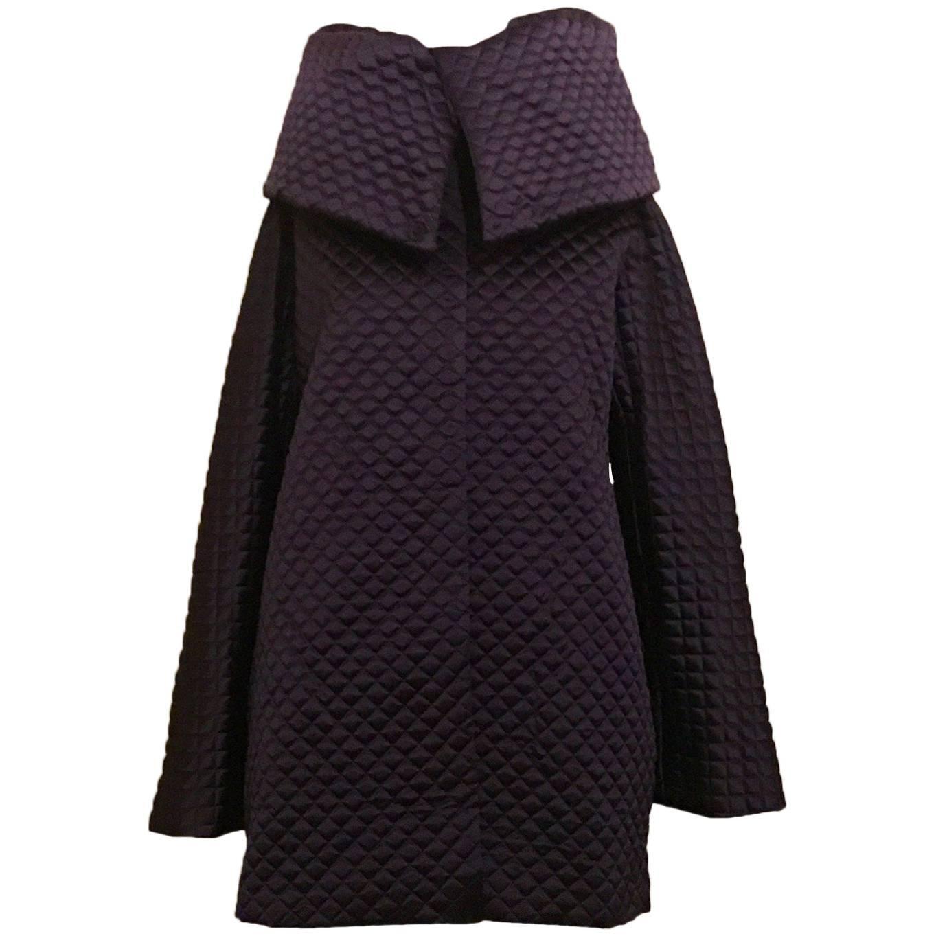 New 2007 Alexander McQueen Runway Purple Quilted High Collar Jacket Coat