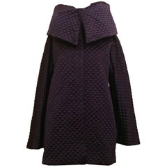 New Alexander McQueen 2007 Runway Purple Quilted High Collar Jacket Coat