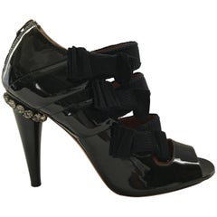 Lanvin Black Patent Sandal Bootie WithsGrosgrain Bows And Crystal Detail Sz 38i