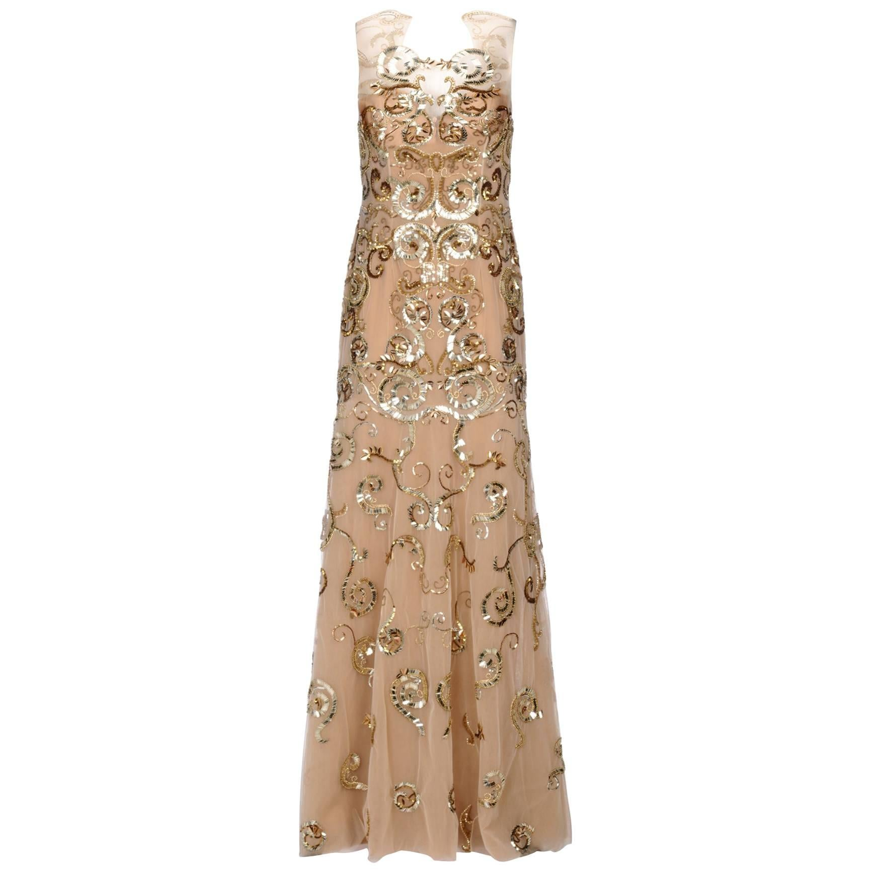 New ZUHAIR MURAD Nude Gold Embellished Dress Gown size 44
