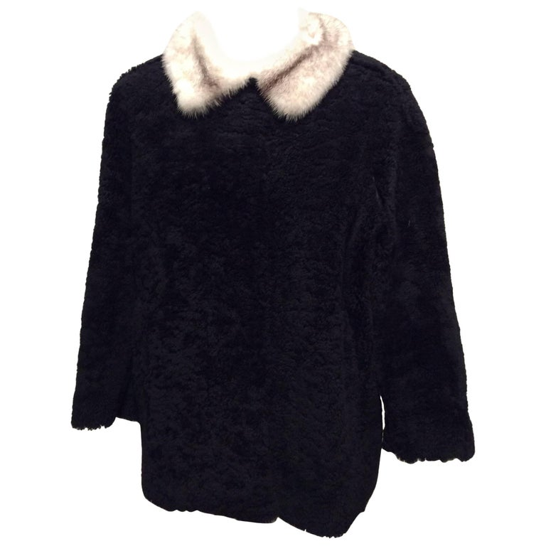 Prada Black Shearling Jacket With Removable White Mink Collar Sz42