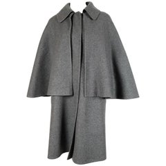 HERMES charcoal grey double faced cashmere cape coat - new