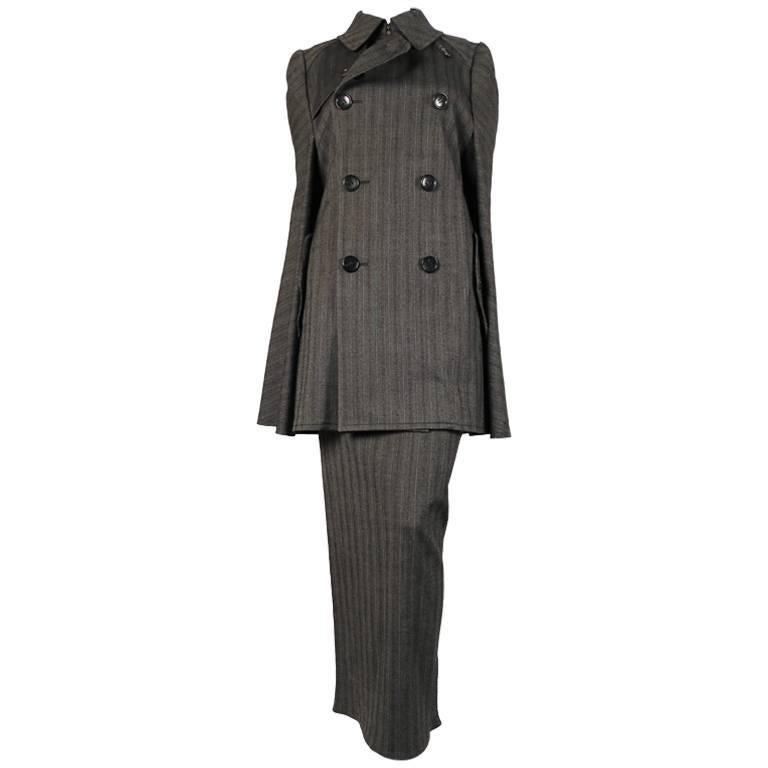 Junya Watanabe striped wool runway cape coat and skirt, 2008