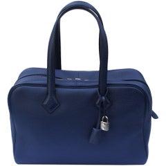 Impossible to Find Hermes Victoria Bag II 35cm Bleu Saphir Palladium HDW / BNIB