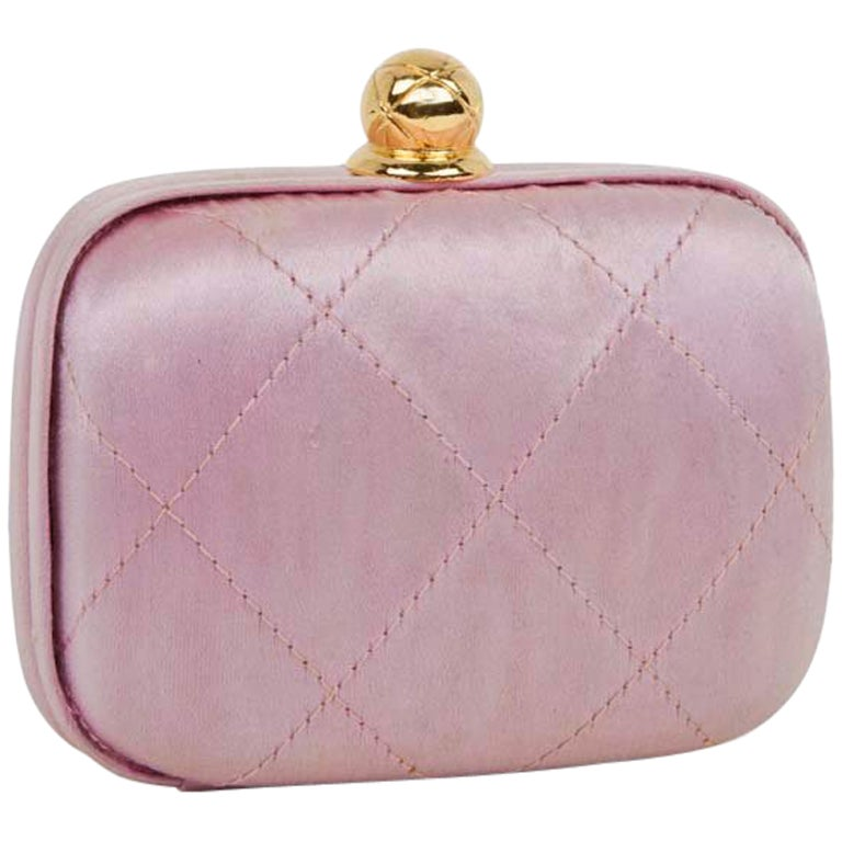 CHANEL Minaudière in Pale Pink Quilted Silk Satin