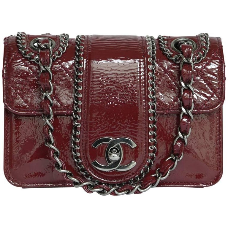Mini CHANEL Flap Bag in Bordeaux Patent Leather