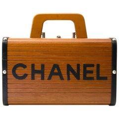 Chanel Limited Wooden Leather Trunk Case Handbag