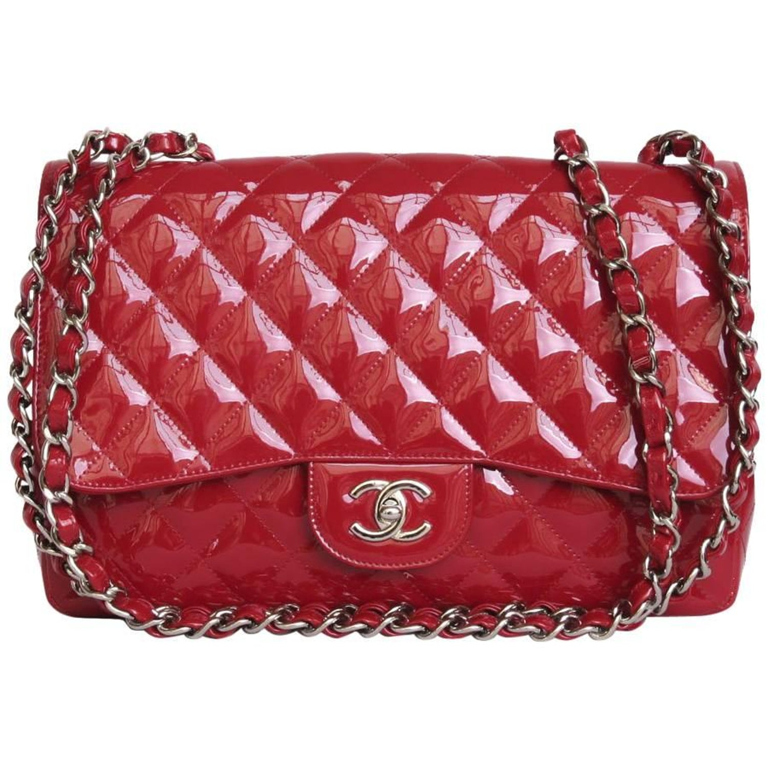 afdf3d6d636f CHANEL 'Jumbo' Flap Bag in Red Patent Leather at 1stdibs