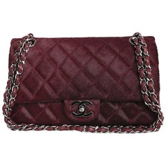 CHANEL 'Timeless' Flap Bag in Burgundy Foal Leather