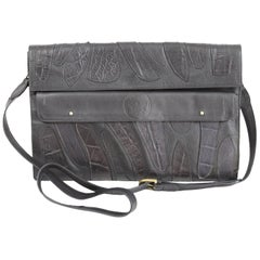 Giorgio Armani leather black shoulder bag excellent condition 1990s women's
