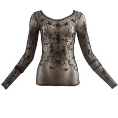 Vivienne Westwood Spring-Summer 1992 black mesh fitted top