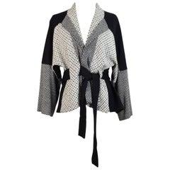 Kenzo black white wool sweater jacket kimono women's size M made italy 1990s