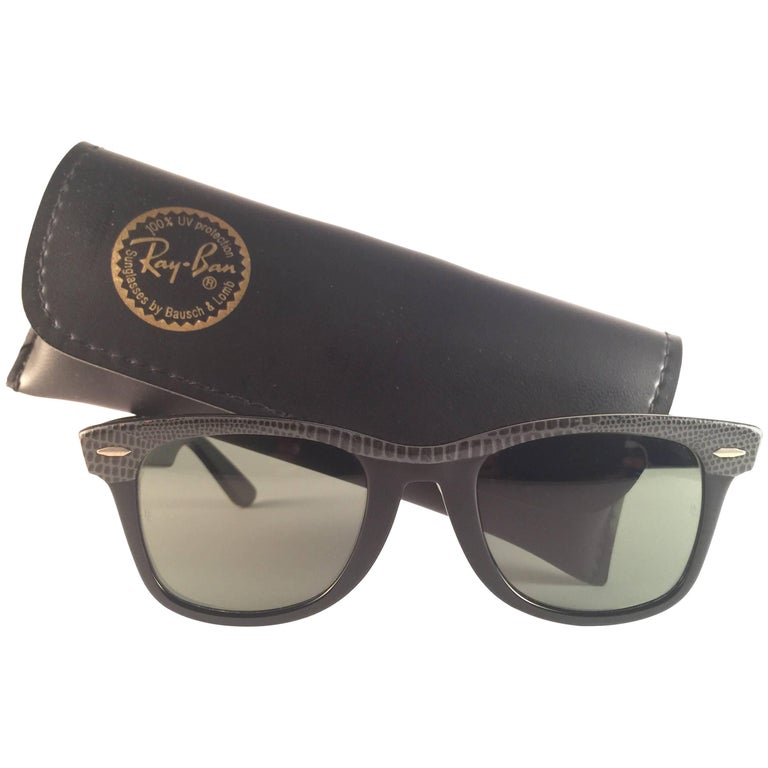 New Ray Ban The Wayfarer Leather B&L G15 Grey Lenses USA 80's Sunglasses