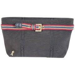 Roberta di Camerino black cotton pochette handbag 1980s italy vintage clutche