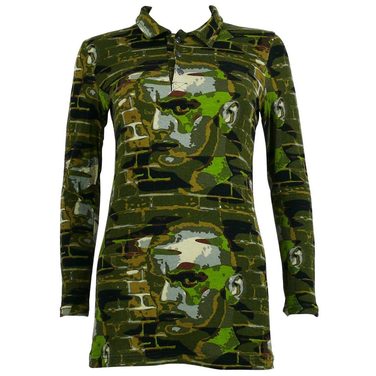 Jean Paul Gaultier Vintage Camouflage Faces Long Sleeve T Shirt Tunic