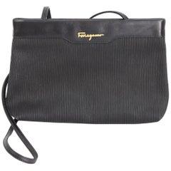 Salvatore Ferragamo black leather clutch bag cod. ad 211183 made italy 1980s