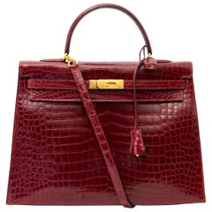 Rare Hermes Kelly 35 Rouge H Alligator GHW