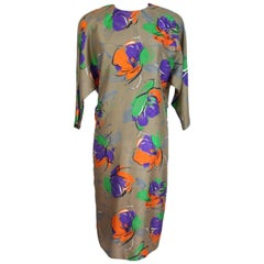 Pierre Cardin paris taupe flower silk wedding dress women's 1980s size 48