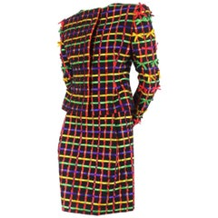 Bob Mackie 1980s Couture 'Ribbon' Dress Suit