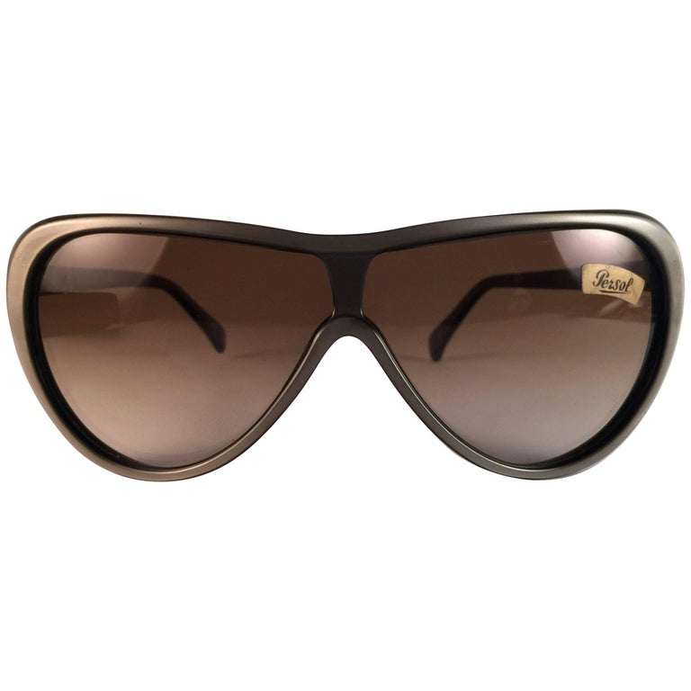 New Vintage Persol Ratti Pininfarina Grey Metal Made in Italy Sunglasses 1980's For Sale