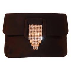 Art Deco 1950's Morris Moskowitz Black Satin & Rhinestone Clutch Handbag