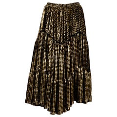 Yves Saint Laurent 1970's Burned Silk Velvet Black and Gold Circle Skirt