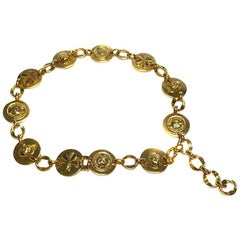 Vintage CHANEL Belt in Gilded Metal and Medallions