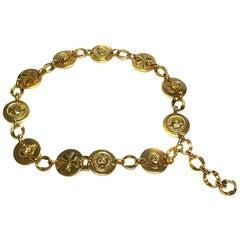Vintage CHANEL Belt in Gilded Metal and Medallions