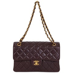 Chanel Vintage Brown Double Sided Quilted Leather Flap Bag
