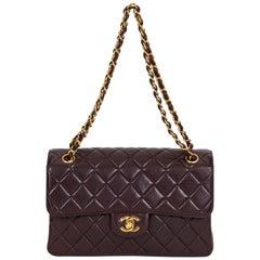 Chanel Vintage Braune Doppelseitige gesteppte Ledertasche