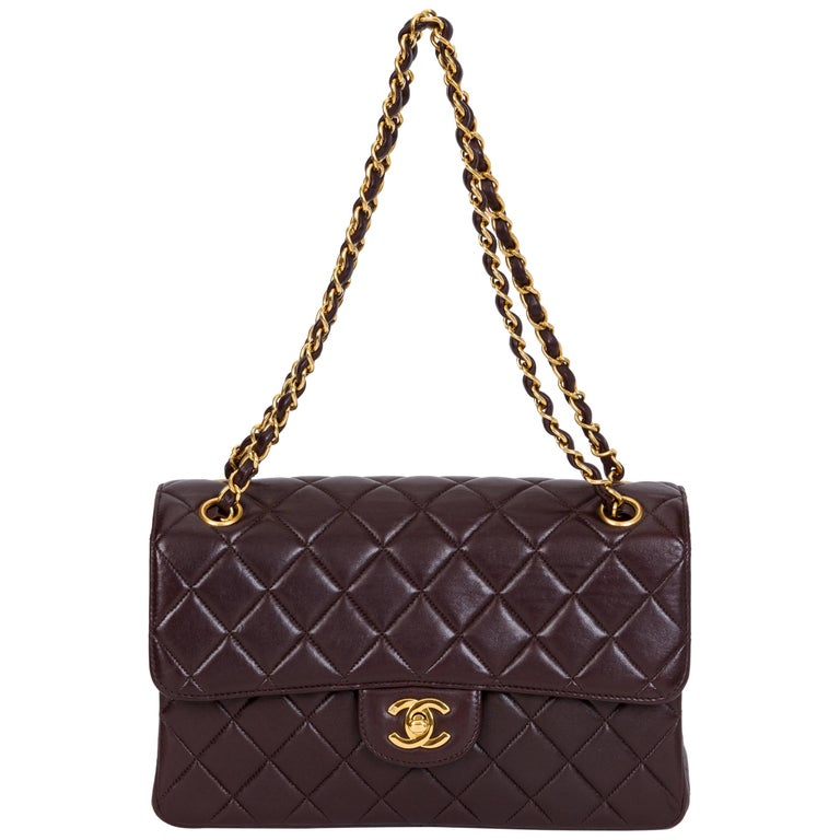 Chanel Vintage Brown Double Sided Quilted Leather Flap Bag For Sale
