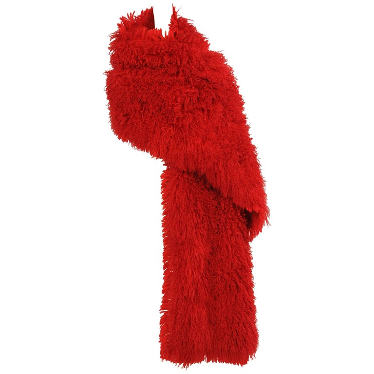 Nina Ricci Glamorous Red Mongolian Curly Lamb Wrap