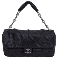 Chanel Maxi Black Leather Origami Flap Bag