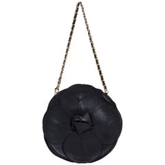 Chanel Black Leather Camellia Flower Bag