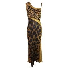 Atelier Versace by Gianni Runway Sheer Faux Fur Leopard Beaded Gown, F / W 1996
